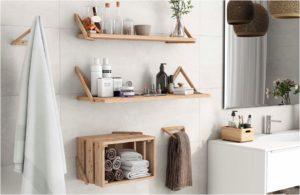 cajas de madera orden en baño